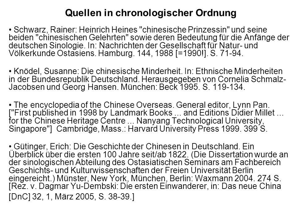 Quellen in chronologischer Ordnung Schwarz, Rainer: Heinrich Heines