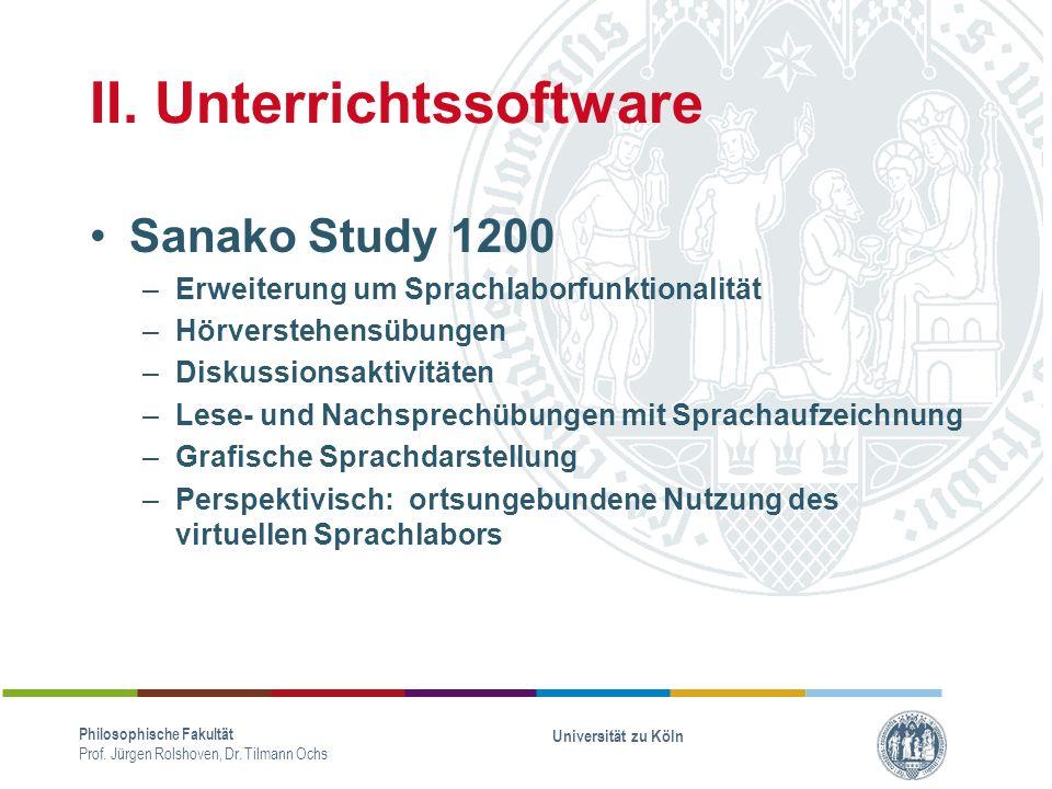 II.Unterrichtssoftware Philosophische Fakultät Prof.