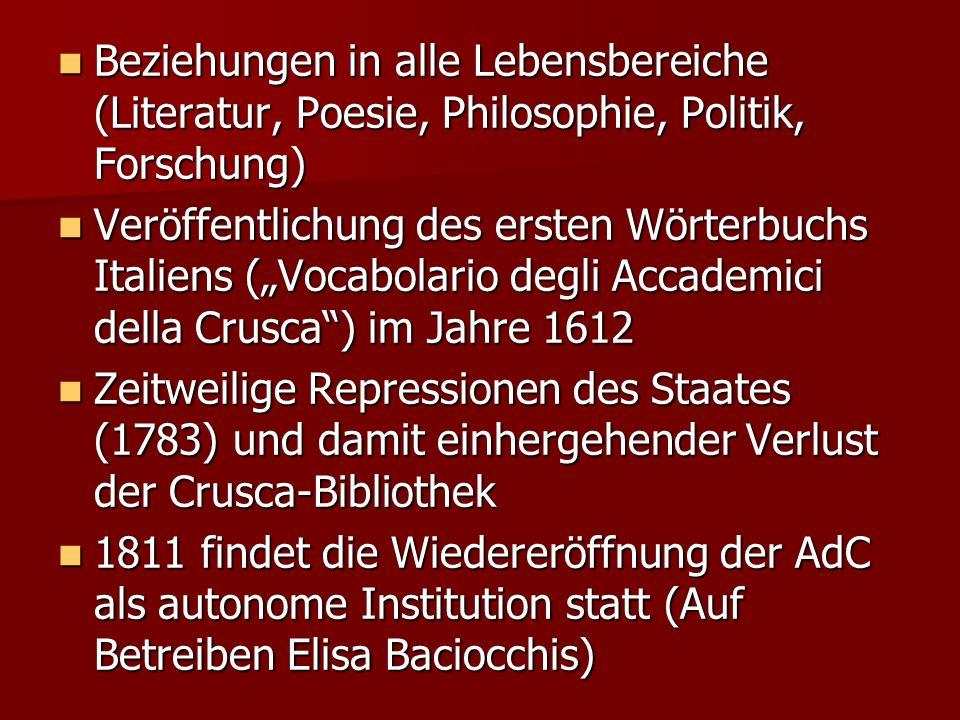 Beziehungen in alle Lebensbereiche (Literatur, Poesie, Philosophie, Politik, Forschung) Beziehungen in alle Lebensbereiche (Literatur, Poesie, Philoso