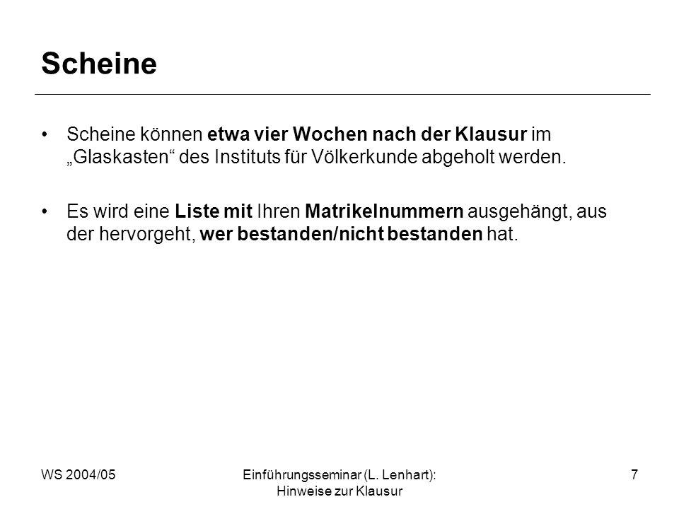 WS 2004/05Einführungsseminar (L. Lenhart): Hinweise zur Klausur 7 Scheine Scheine können etwa vier Wochen nach der Klausur im Glaskasten des Instituts