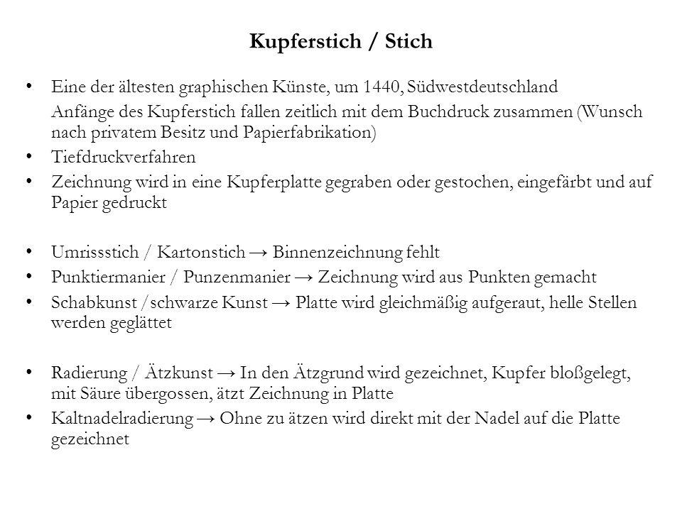 Kupferstich / Stich Eine der ältesten graphischen Künste, um 1440, Südwestdeutschland Anfänge des Kupferstich fallen zeitlich mit dem Buchdruck zusamm