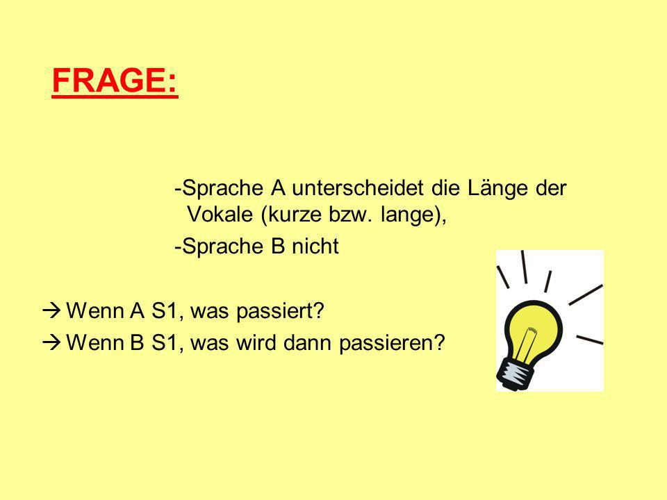 -Sprache A unterscheidet die Länge der Vokale (kurze bzw. lange), -Sprache B nicht Wenn A S1, was passiert? Wenn B S1, was wird dann passieren? FRAGE: