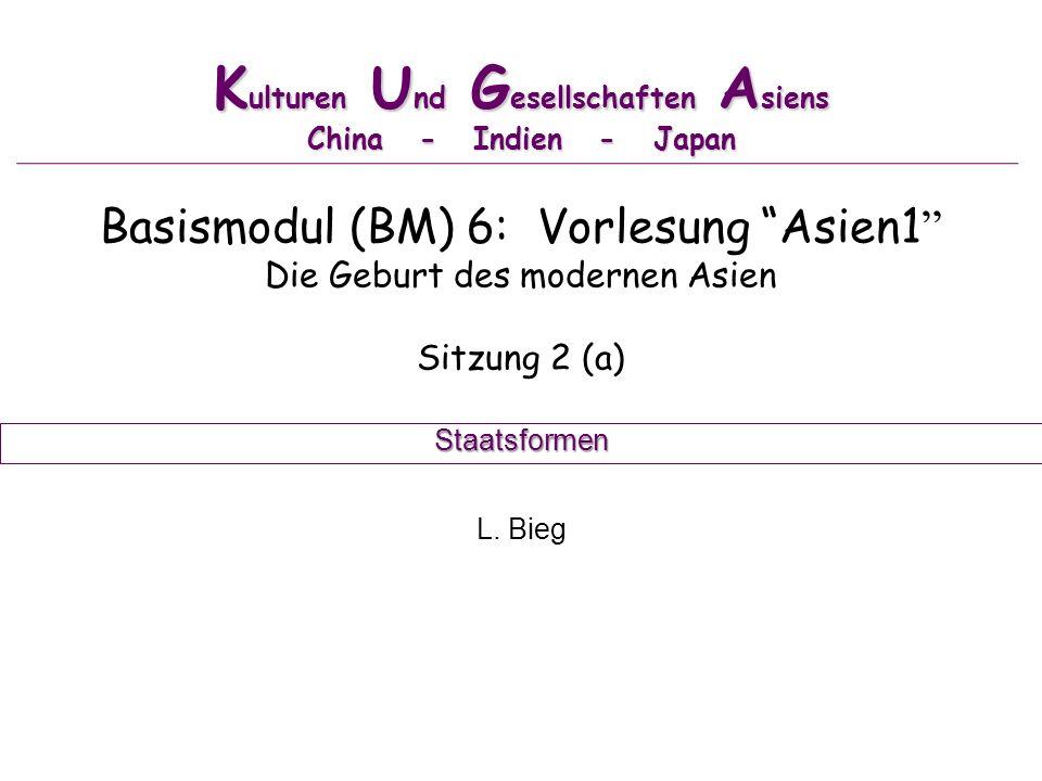 K ulturen U nd G esellschaften A siens China - Indien - Japan Basismodul (BM) 6: Vorlesung Asien1 Die Geburt des modernen Asien Sitzung 2 (a) L.