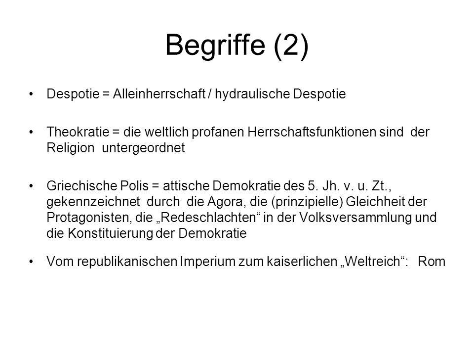 Begriffe (2) Despotie = Alleinherrschaft / hydraulische Despotie Theokratie = die weltlich profanen Herrschaftsfunktionen sind der Religion untergeordnet Griechische Polis = attische Demokratie des 5.