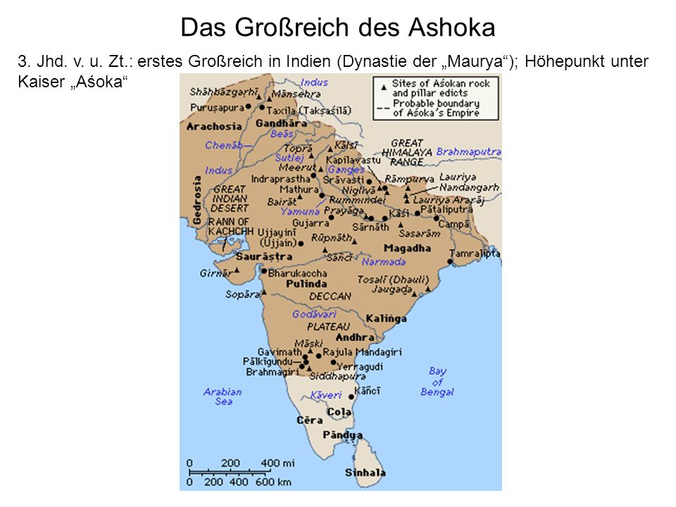 Das Großreich des Ashoka 3. Jhd. v. u. Zt.: erstes Großreich in Indien (Dynastie der Maurya); Höhepunkt unter Kaiser Aśoka