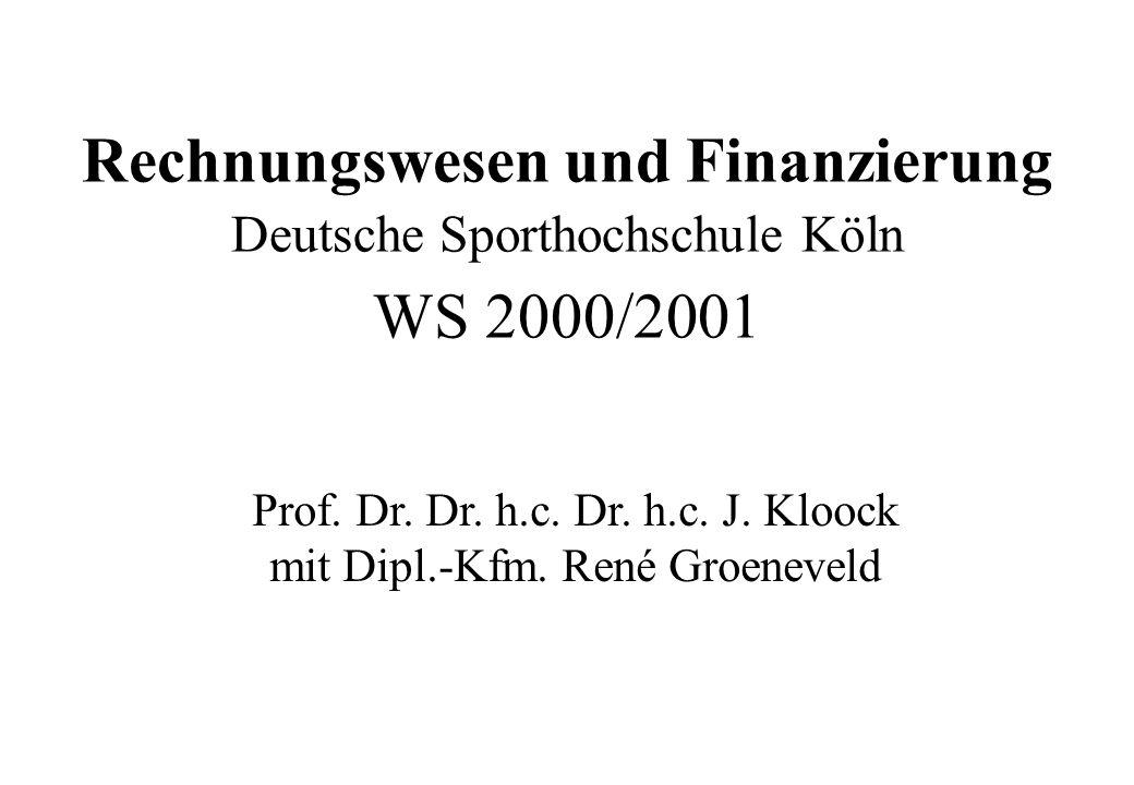 Rechnungswesen und Finanzierung Deutsche Sporthochschule Köln WS 2000/2001 Prof. Dr. Dr. h.c. Dr. h.c. J. Kloock mit Dipl.-Kfm. René Groeneveld
