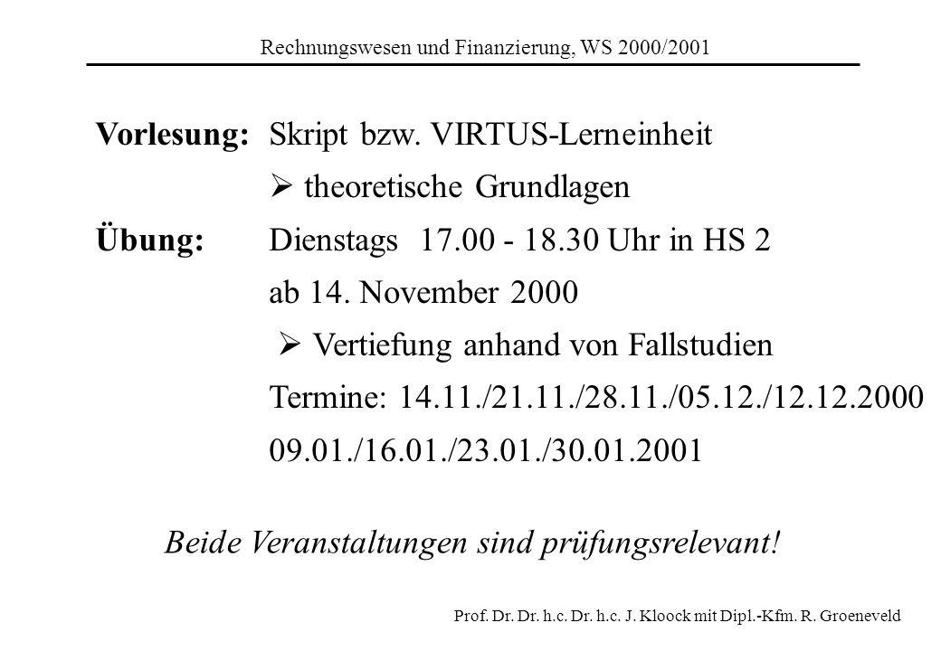 Rechnungswesen und Finanzierung, WS 2000/2001 Prof. Dr. Dr. h.c. Dr. h.c. J. Kloock mit Dipl.-Kfm. R. Groeneveld Vorlesung:Skript bzw. VIRTUS-Lerneinh