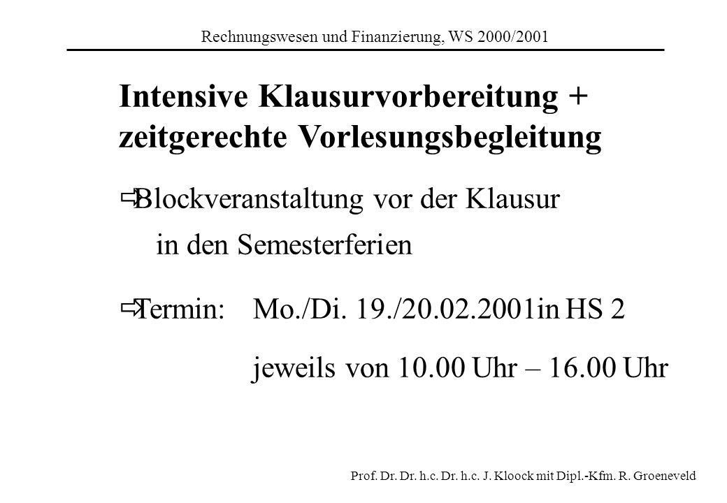 Intensive Klausurvorbereitung + zeitgerechte Vorlesungsbegleitung Blockveranstaltung vor der Klausur in den Semesterferien Termin: Mo./Di. 19./20.02.2