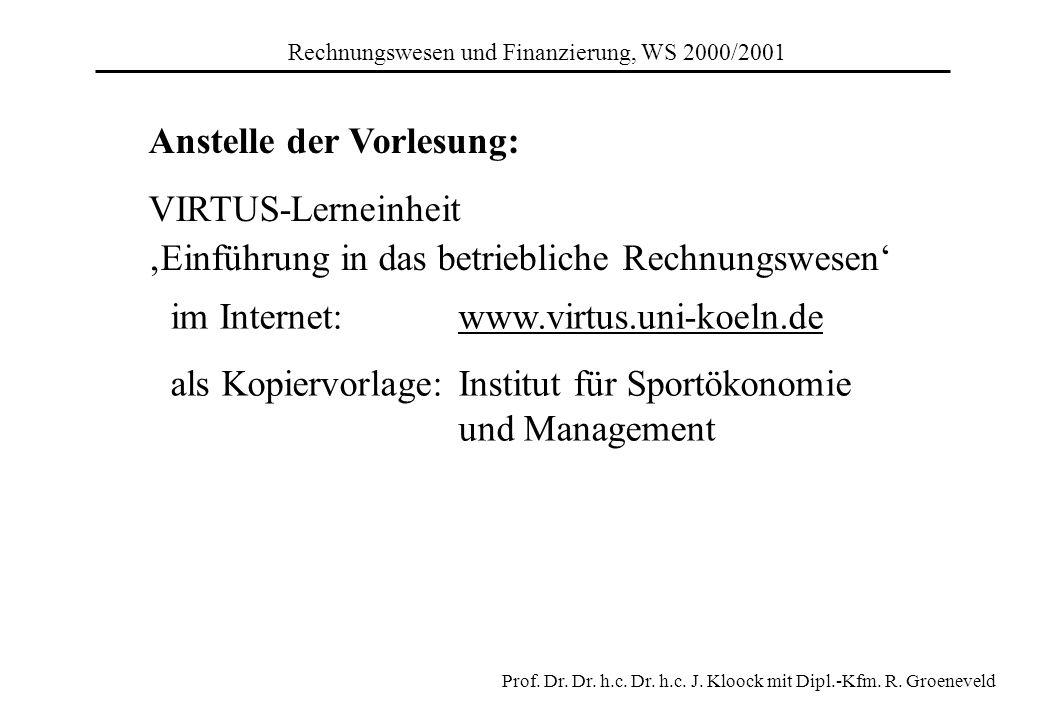 im Internet: www.virtus.uni-koeln.de als Kopiervorlage:Institut für Sportökonomie und Management Anstelle der Vorlesung: VIRTUS-Lerneinheit Einführung