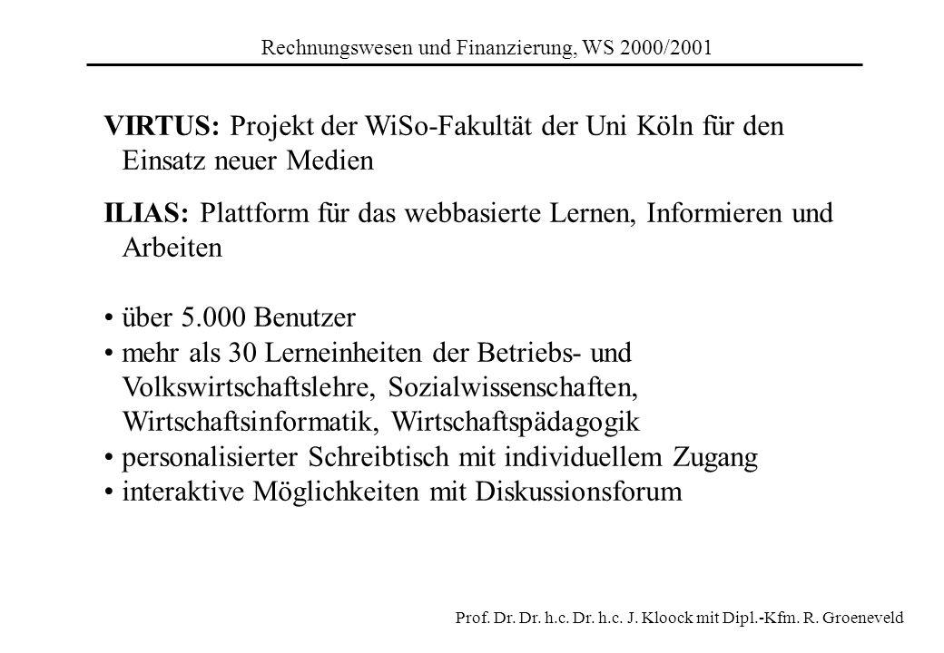 VIRTUS-Account beantragen Internet-Adresse: www.virtus.uni-koeln.de Gast-Account Formular Gast-Anmeldung ausfüllen Virtus-Benutzerkennung (Vorname.Zuname) und Virtus- Passwort merken Anmelden mail mit Ilias: NachrichtMail schreiben an: René Groeneveld Prof.