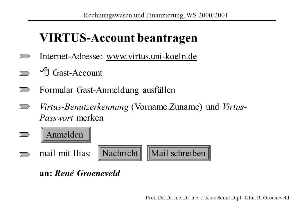 VIRTUS-Account beantragen Internet-Adresse: www.virtus.uni-koeln.de Gast-Account Formular Gast-Anmeldung ausfüllen Virtus-Benutzerkennung (Vorname.Zun
