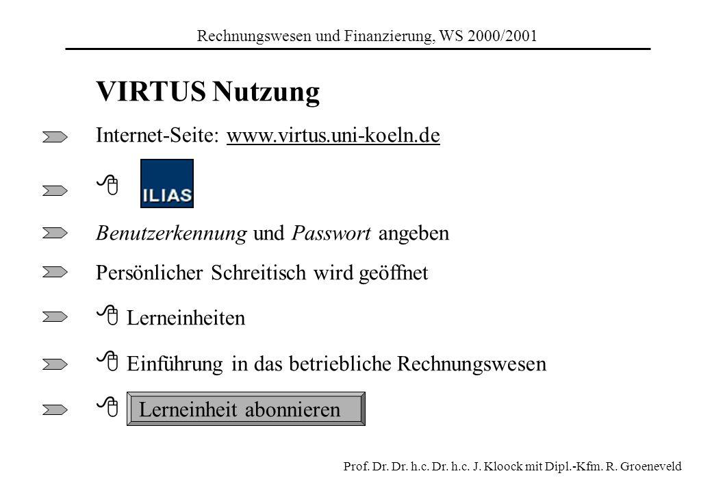 VIRTUS Nutzung Internet-Seite: www.virtus.uni-koeln.de Benutzerkennung und Passwort angeben Persönlicher Schreitisch wird geöffnet Lerneinheiten Einfü