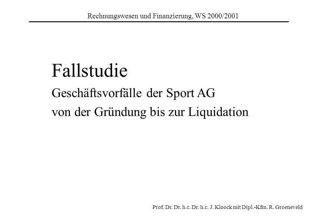 Fallstudie Geschäftsvorfälle der Sport AG von der Gründung bis zur Liquidation Prof. Dr. Dr. h.c. Dr. h.c. J. Kloock mit Dipl.-Kfm. R. Groeneveld Rech