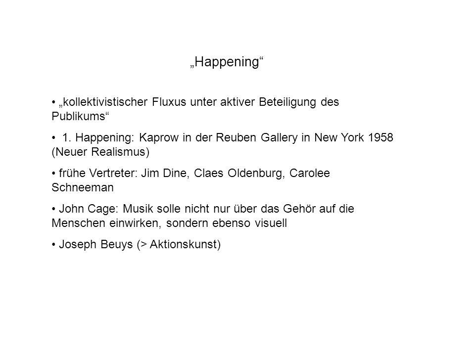Happening kollektivistischer Fluxus unter aktiver Beteiligung des Publikums 1. Happening: Kaprow in der Reuben Gallery in New York 1958 (Neuer Realism
