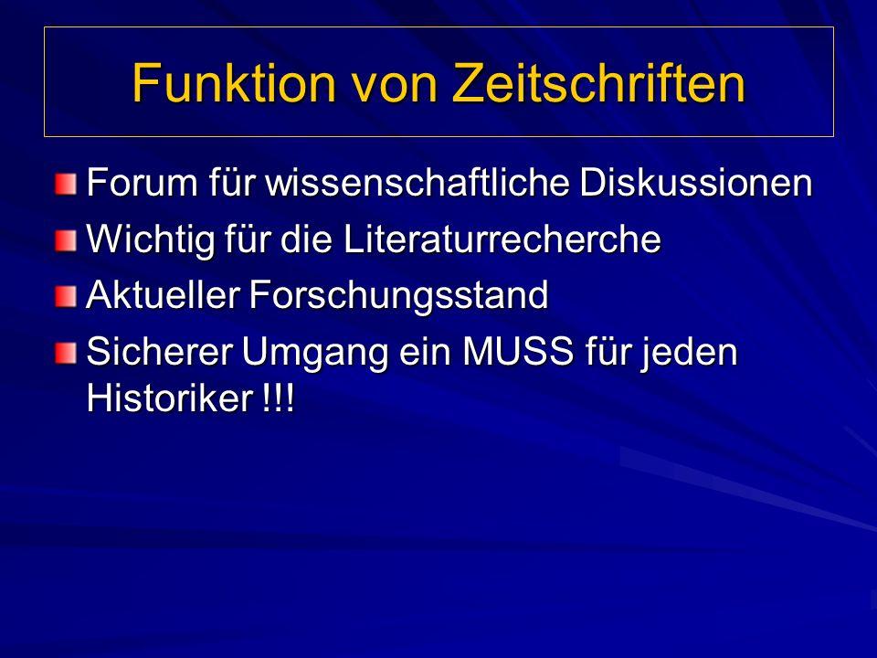 Funktion von Zeitschriften Forum für wissenschaftliche Diskussionen Wichtig für die Literaturrecherche Aktueller Forschungsstand Sicherer Umgang ein M