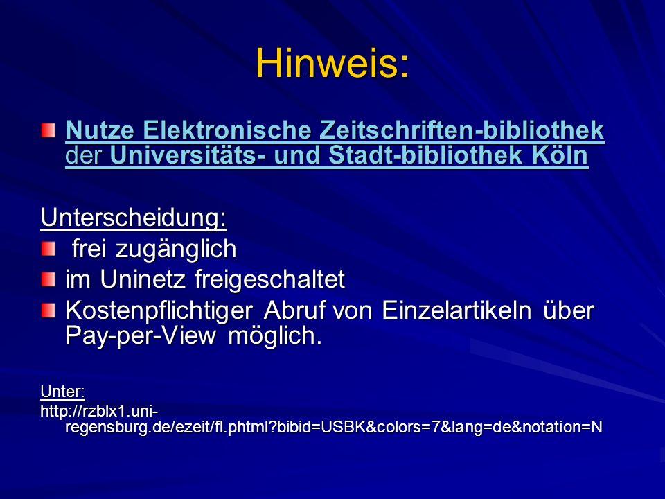 Hinweis: Nutze Elektronische Zeitschriften-bibliothek der Universitäts- und Stadt-bibliothek Köln Elektronische Zeitschriften-bibliothekUniversitäts-