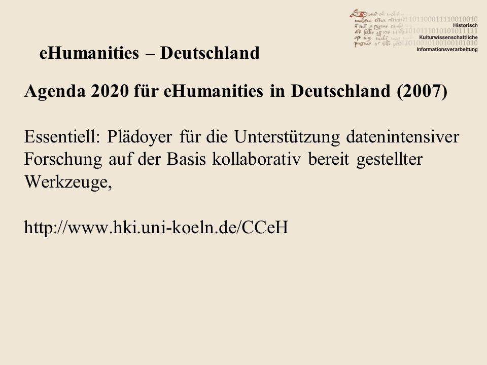 Agenda 2020 für eHumanities in Deutschland (2007) Essentiell: Plädoyer für die Unterstützung datenintensiver Forschung auf der Basis kollaborativ bereit gestellter Werkzeuge, http://www.hki.uni-koeln.de/CCeH eHumanities – Deutschland