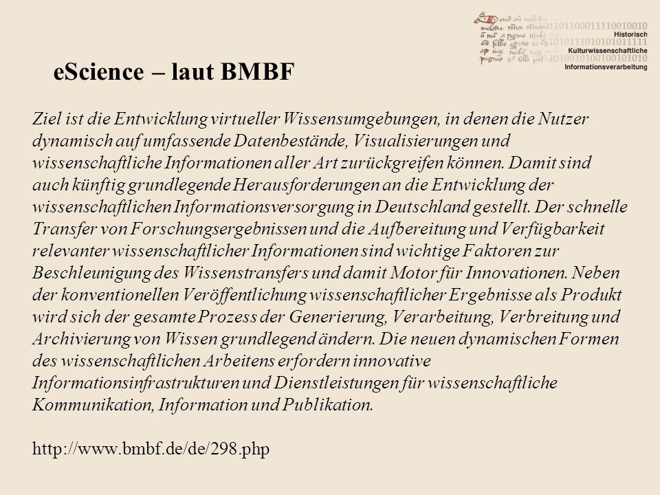 Center for Digital Humanities – Universität Göttingen http://www.textgrid.de/fileadmin/TextGrid/konferenzen_ vortraege/eHumanities_0109/e-humanities%20- %2005%20-%20e-Humanities-Potentiale%20- %20CDH%20-%20Lauer.pdf Oder: http://www.hki.uni-koeln.de/CCeH eHumanities – Deutschland