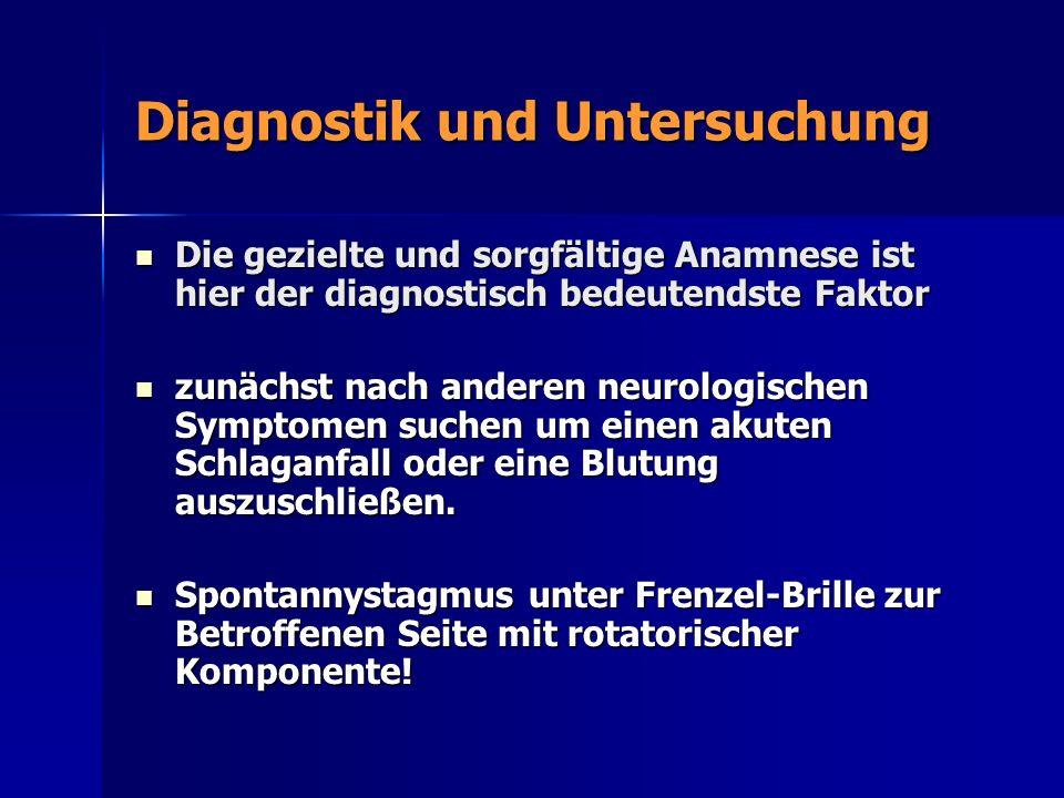 Diagnostik und Untersuchung Die gezielte und sorgfältige Anamnese ist hier der diagnostisch bedeutendste Faktor Die gezielte und sorgfältige Anamnese