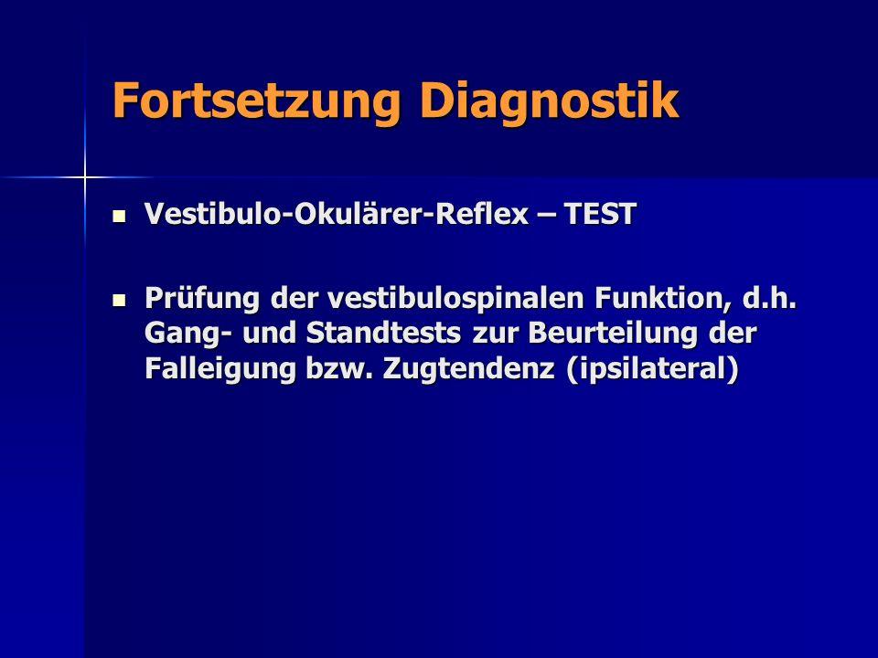 Fortsetzung Diagnostik Vestibulo-Okulärer-Reflex – TEST Vestibulo-Okulärer-Reflex – TEST Prüfung der vestibulospinalen Funktion, d.h. Gang- und Standt