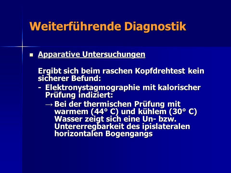Weiterführende Diagnostik Apparative Untersuchungen Apparative Untersuchungen Ergibt sich beim raschen Kopfdrehtest kein sicherer Befund: -Elektronyst