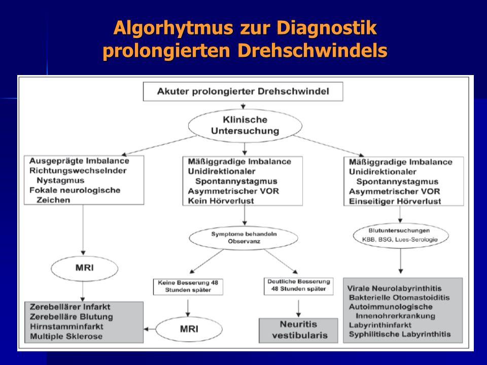 Algorhytmus zur Diagnostik prolongierten Drehschwindels
