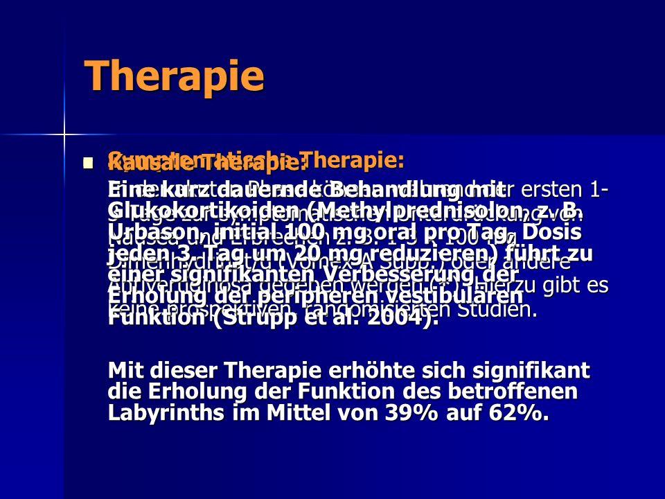Therapie Symptomatische Therapie: Symptomatische Therapie: In der akuten Phase können während der ersten 1- 3 Tage zur symptomatischen Unterdrückung v