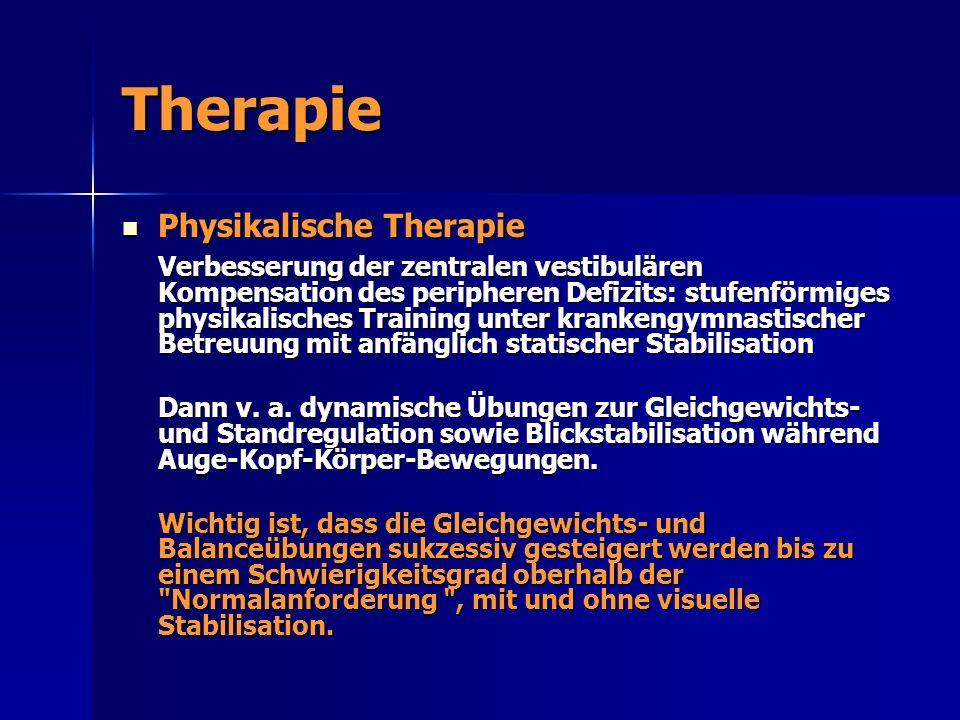 Therapie Physikalische Therapie Physikalische Therapie Verbesserung der zentralen vestibulären Kompensation des peripheren Defizits: stufenförmiges ph