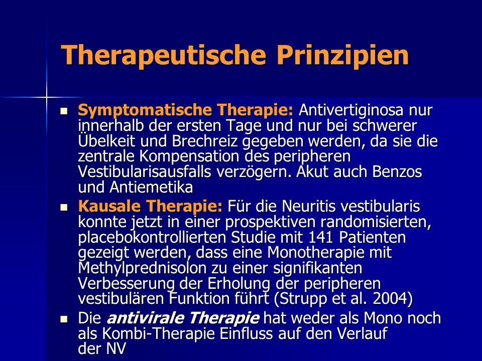 Therapeutische Prinzipien Symptomatische Therapie: Antivertiginosa nur innerhalb der ersten Tage und nur bei schwerer Übelkeit und Brechreiz gegeben w