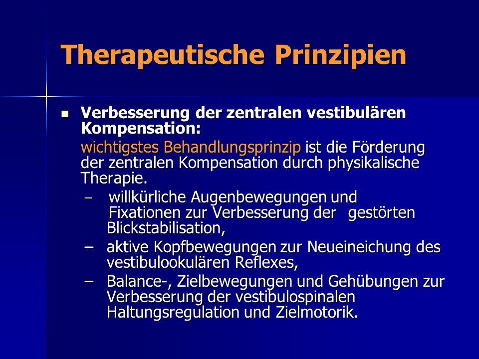 Therapeutische Prinzipien Verbesserung der zentralen vestibulären Kompensation: Verbesserung der zentralen vestibulären Kompensation: wichtigstes Beha