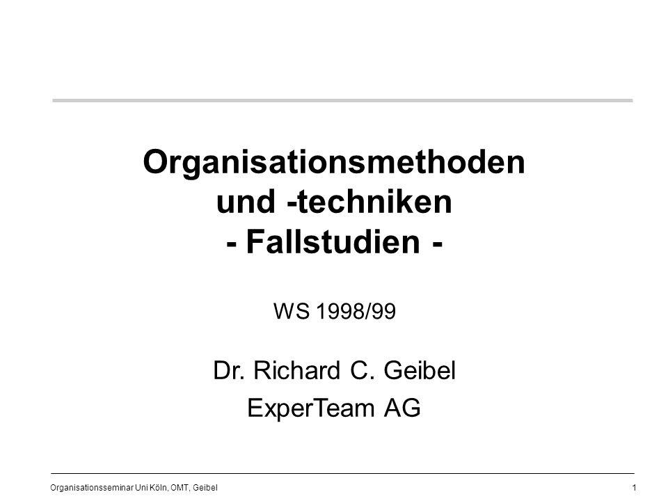 2 Organisationsseminar Uni Köln, OMT, Geibel Gliederung (1) I.Einführung Ziele dieses Vorlesungsteils Vorbemerkungen Lebenslauf / ExperTeam Literatur Projektmanagement II.Fallstudien 1.