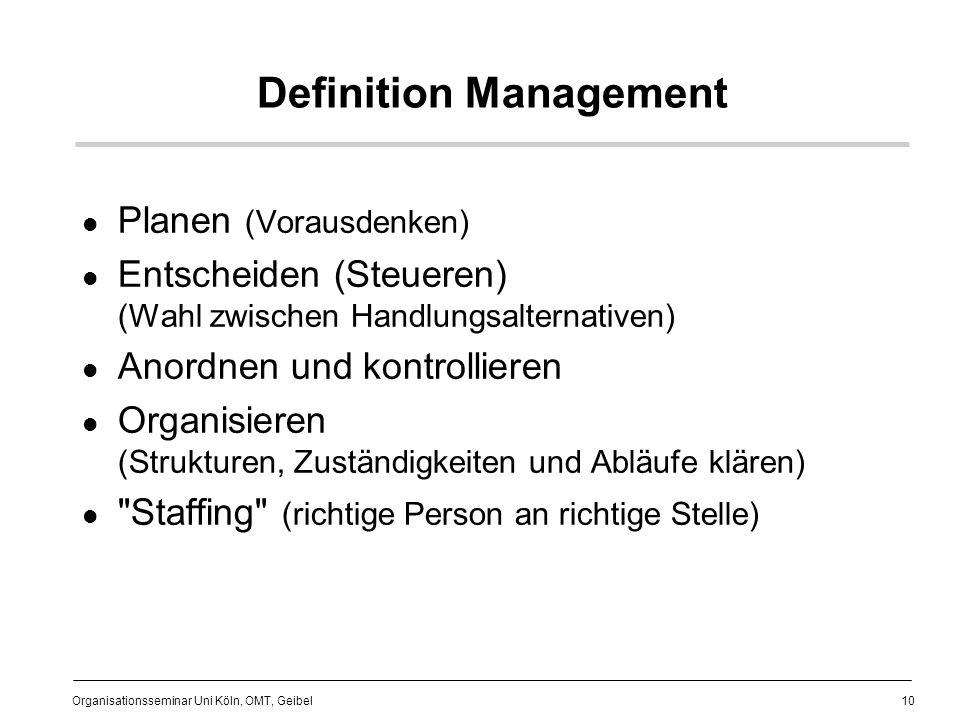 10 Organisationsseminar Uni Köln, OMT, Geibel Definition Management Planen (Vorausdenken) Entscheiden (Steueren) (Wahl zwischen Handlungsalternativen) Anordnen und kontrollieren Organisieren (Strukturen, Zuständigkeiten und Abläufe klären) Staffing (richtige Person an richtige Stelle)