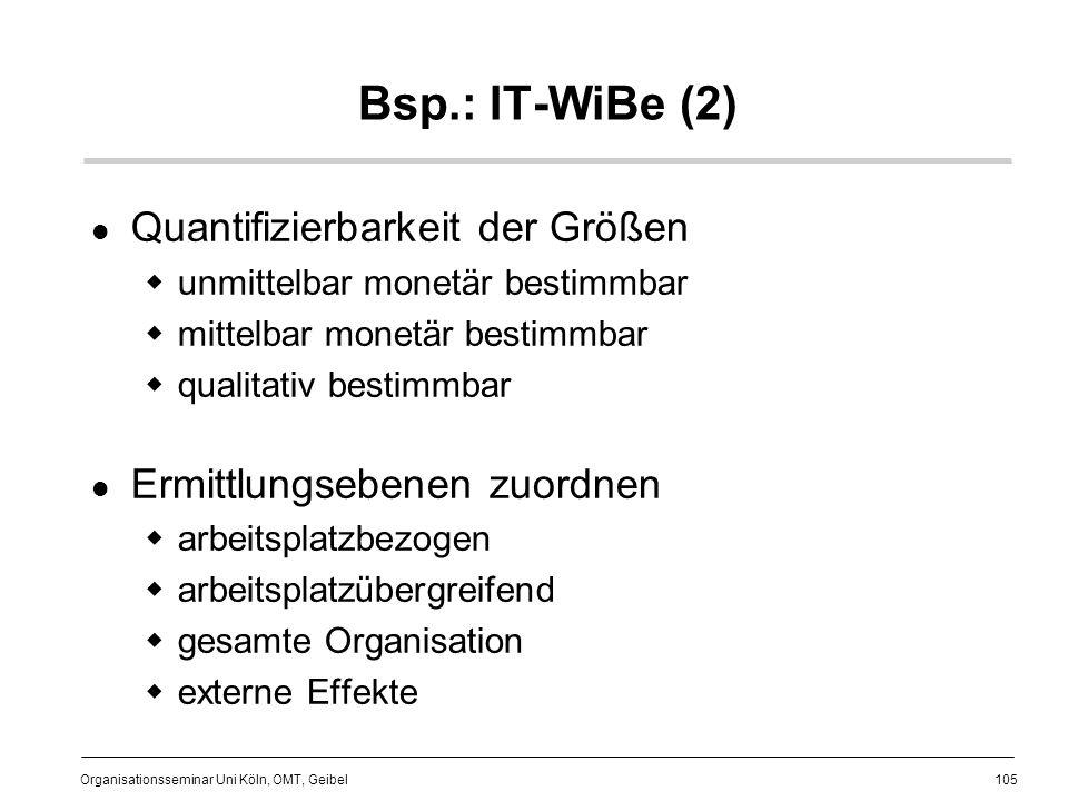 105 Organisationsseminar Uni Köln, OMT, Geibel Bsp.: IT-WiBe (2) Quantifizierbarkeit der Größen unmittelbar monetär bestimmbar mittelbar monetär bestimmbar qualitativ bestimmbar Ermittlungsebenen zuordnen arbeitsplatzbezogen arbeitsplatzübergreifend gesamte Organisation externe Effekte