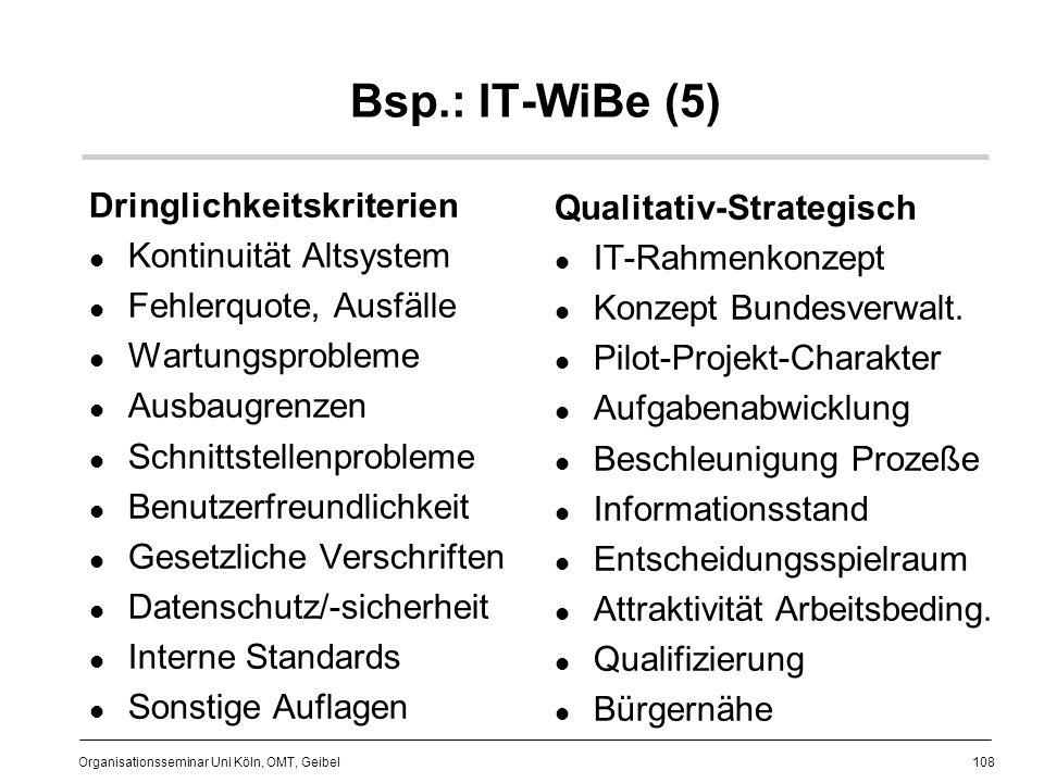 108 Organisationsseminar Uni Köln, OMT, Geibel Bsp.: IT-WiBe (5) Dringlichkeitskriterien Kontinuität Altsystem Fehlerquote, Ausfälle Wartungsprobleme Ausbaugrenzen Schnittstellenprobleme Benutzerfreundlichkeit Gesetzliche Verschriften Datenschutz/-sicherheit Interne Standards Sonstige Auflagen Qualitativ-Strategisch IT-Rahmenkonzept Konzept Bundesverwalt.