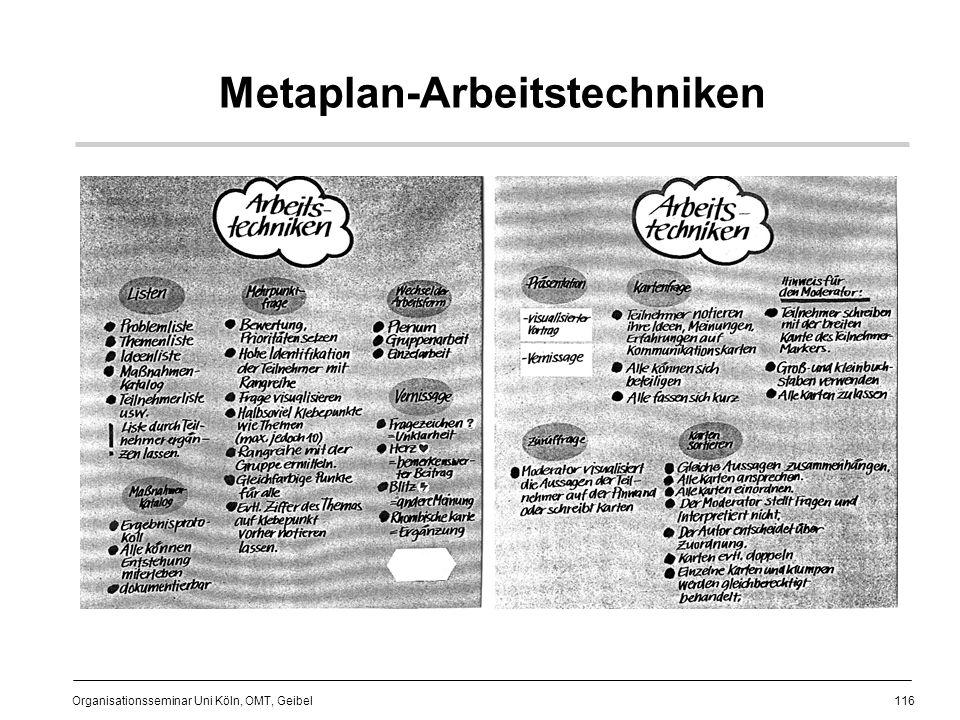 116 Organisationsseminar Uni Köln, OMT, Geibel Metaplan-Arbeitstechniken