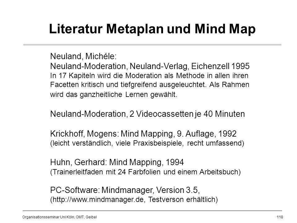118 Organisationsseminar Uni Köln, OMT, Geibel Literatur Metaplan und Mind Map Neuland, Michéle: Neuland-Moderation, Neuland-Verlag, Eichenzell 1995 In 17 Kapiteln wird die Moderation als Methode in allen ihren Facetten kritisch und tiefgreifend ausgeleuchtet.