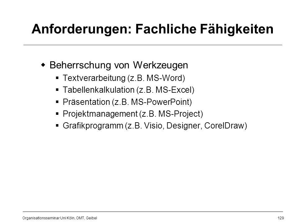 129 Organisationsseminar Uni Köln, OMT, Geibel Anforderungen: Fachliche Fähigkeiten Beherrschung von Werkzeugen Textverarbeitung (z.B.