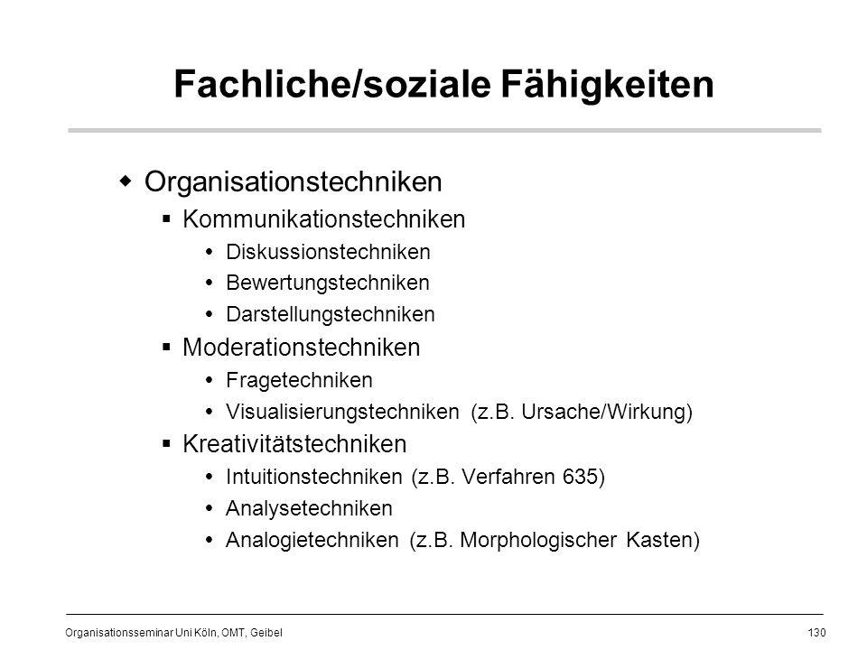 130 Organisationsseminar Uni Köln, OMT, Geibel Fachliche/soziale Fähigkeiten Organisationstechniken Kommunikationstechniken Diskussionstechniken Bewertungstechniken Darstellungstechniken Moderationstechniken Fragetechniken Visualisierungstechniken (z.B.
