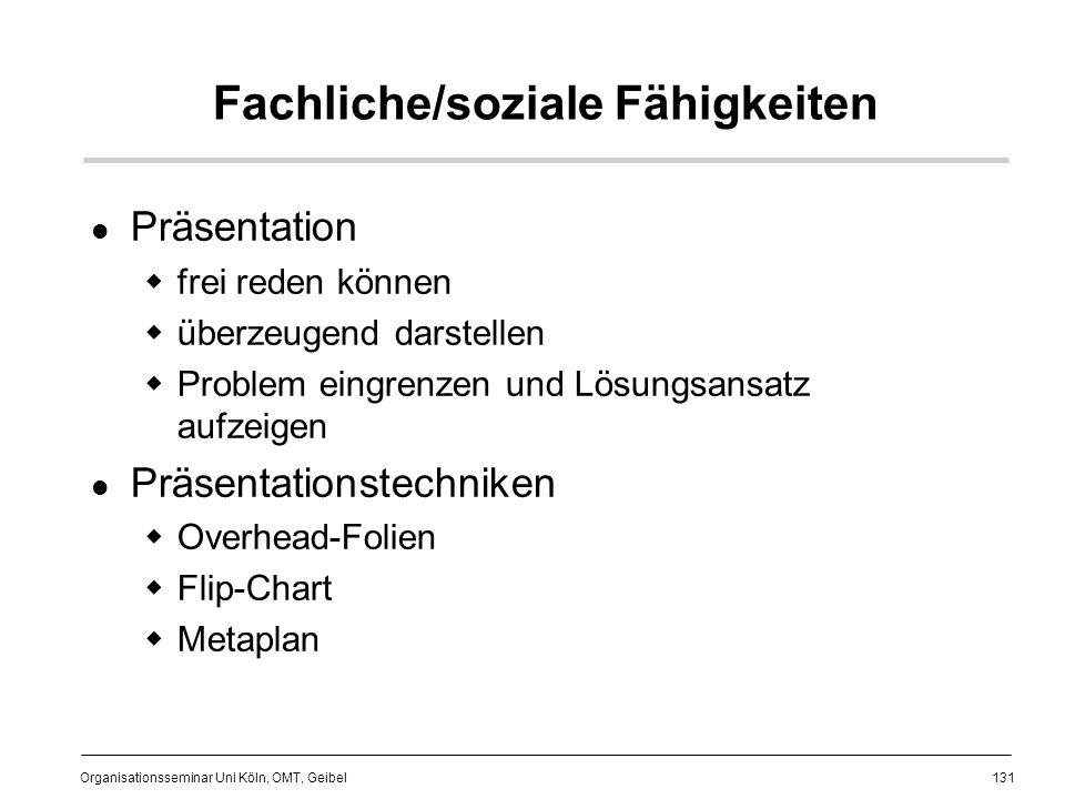 131 Organisationsseminar Uni Köln, OMT, Geibel Fachliche/soziale Fähigkeiten Präsentation frei reden können überzeugend darstellen Problem eingrenzen und Lösungsansatz aufzeigen Präsentationstechniken Overhead-Folien Flip-Chart Metaplan