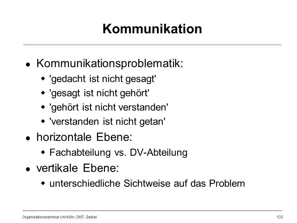 133 Organisationsseminar Uni Köln, OMT, Geibel Kommunikation Kommunikationsproblematik: gedacht ist nicht gesagt gesagt ist nicht gehört gehört ist nicht verstanden verstanden ist nicht getan horizontale Ebene: Fachabteilung vs.