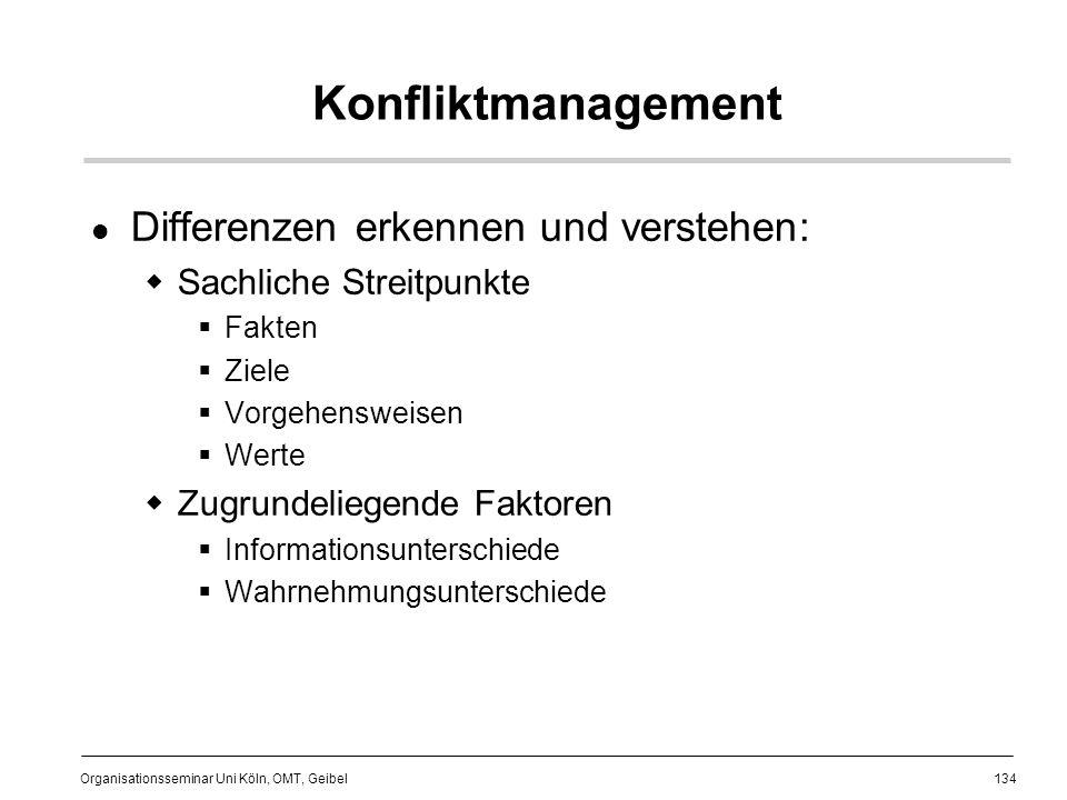 134 Organisationsseminar Uni Köln, OMT, Geibel Konfliktmanagement Differenzen erkennen und verstehen: Sachliche Streitpunkte Fakten Ziele Vorgehensweisen Werte Zugrundeliegende Faktoren Informationsunterschiede Wahrnehmungsunterschiede