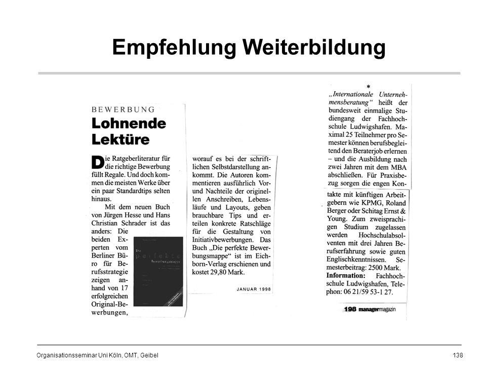 138 Organisationsseminar Uni Köln, OMT, Geibel Empfehlung Weiterbildung