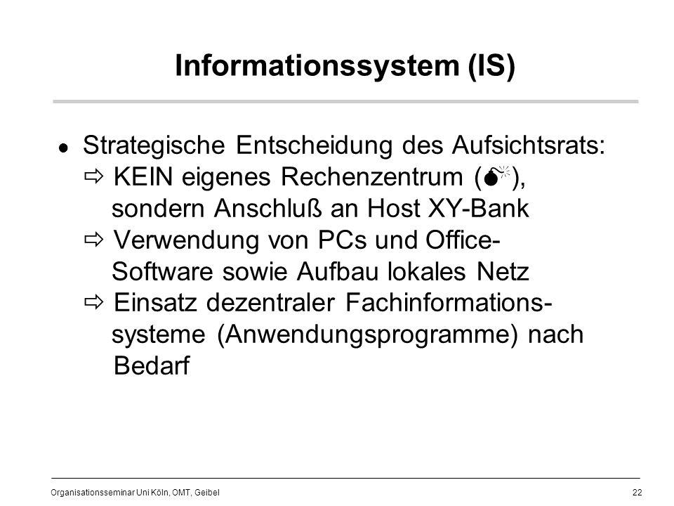22 Organisationsseminar Uni Köln, OMT, Geibel Informationssystem (IS) Strategische Entscheidung des Aufsichtsrats: KEIN eigenes Rechenzentrum ( ), sondern Anschluß an Host XY-Bank Verwendung von PCs und Office- Software sowie Aufbau lokales Netz Einsatz dezentraler Fachinformations- systeme (Anwendungsprogramme) nach Bedarf