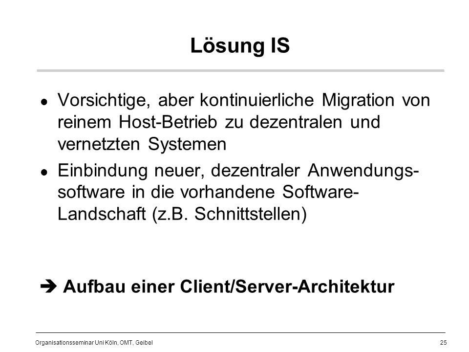 25 Organisationsseminar Uni Köln, OMT, Geibel Lösung IS Vorsichtige, aber kontinuierliche Migration von reinem Host-Betrieb zu dezentralen und vernetzten Systemen Einbindung neuer, dezentraler Anwendungs- software in die vorhandene Software- Landschaft (z.B.