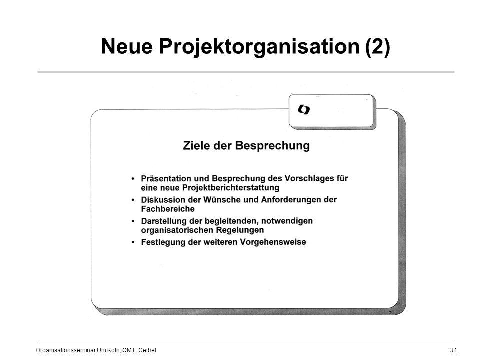 31 Organisationsseminar Uni Köln, OMT, Geibel Neue Projektorganisation (2)