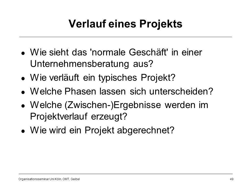49 Organisationsseminar Uni Köln, OMT, Geibel Verlauf eines Projekts Wie sieht das normale Geschäft in einer Unternehmensberatung aus.
