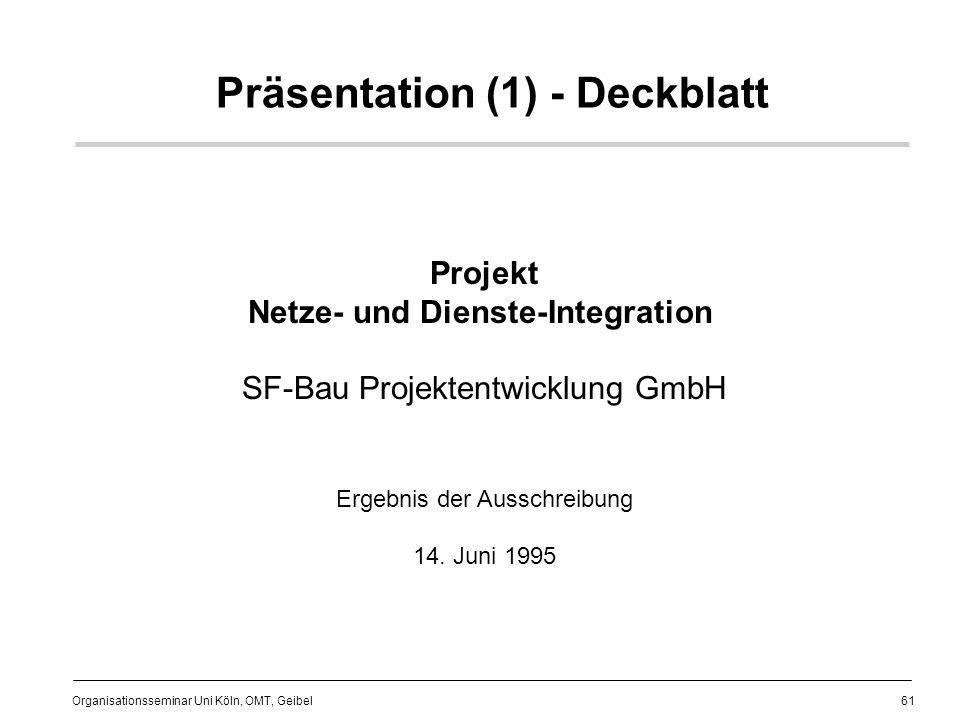 61 Organisationsseminar Uni Köln, OMT, Geibel Präsentation (1) - Deckblatt Projekt Netze- und Dienste-Integration SF-Bau Projektentwicklung GmbH Ergebnis der Ausschreibung 14.