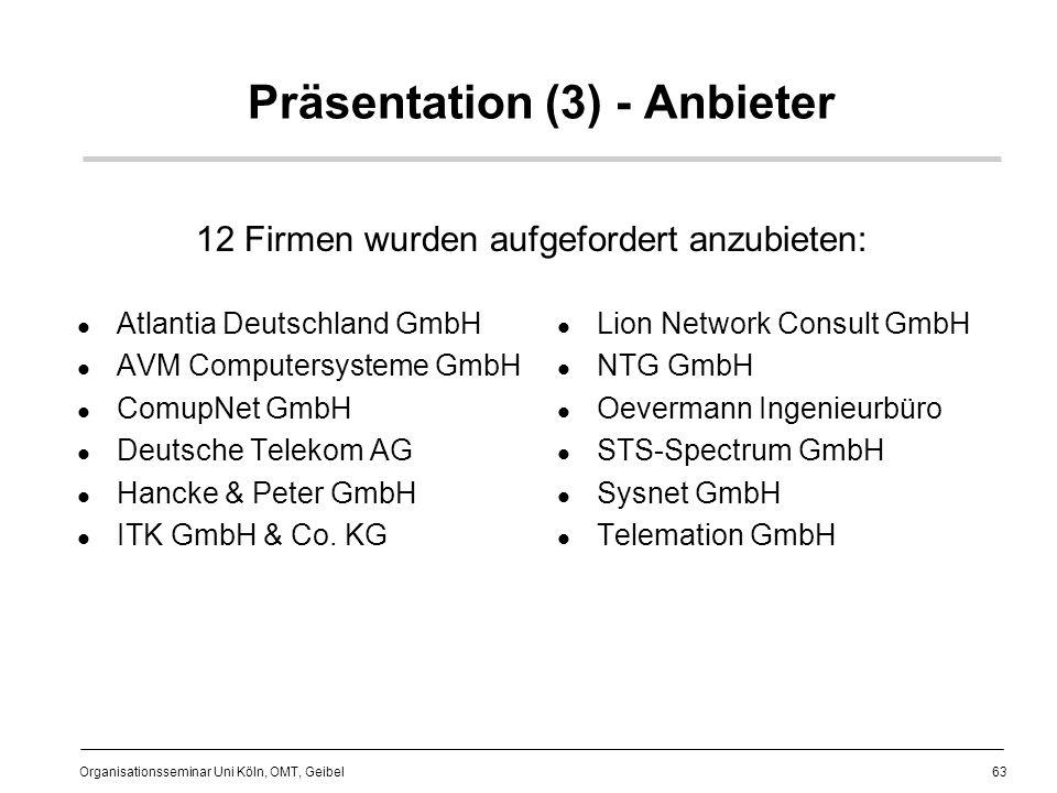 63 Organisationsseminar Uni Köln, OMT, Geibel Präsentation (3) - Anbieter Atlantia Deutschland GmbH AVM Computersysteme GmbH ComupNet GmbH Deutsche Telekom AG Hancke & Peter GmbH ITK GmbH & Co.