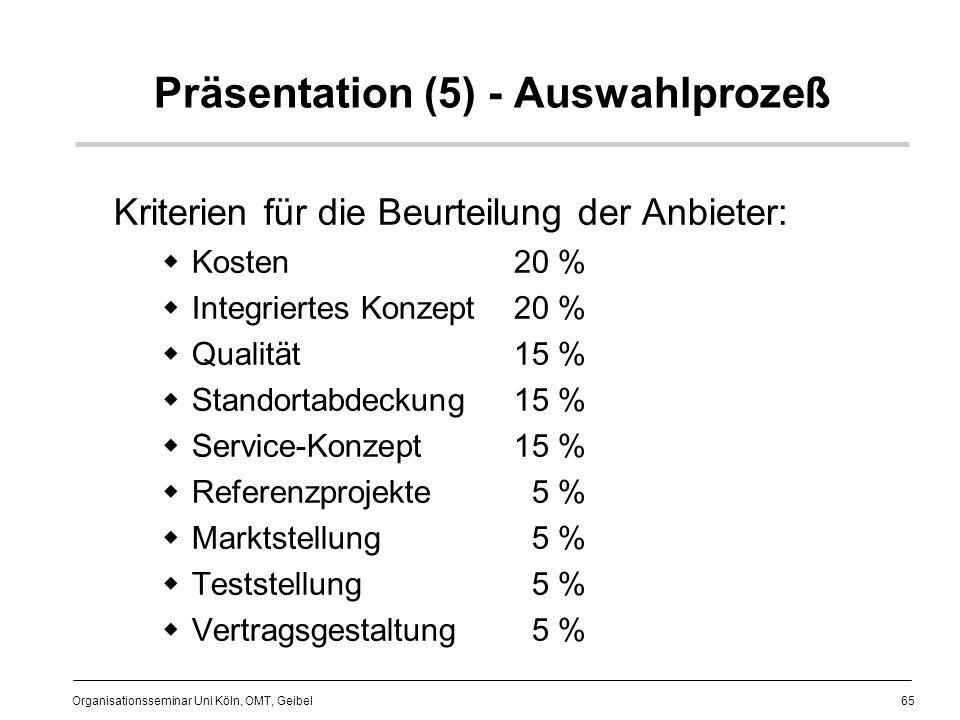 65 Organisationsseminar Uni Köln, OMT, Geibel Präsentation (5) - Auswahlprozeß Kriterien für die Beurteilung der Anbieter: Kosten 20 % Integriertes Konzept20 % Qualität15 % Standortabdeckung15 % Service-Konzept15 % Referenzprojekte 5 % Marktstellung 5 % Teststellung 5 % Vertragsgestaltung 5 %