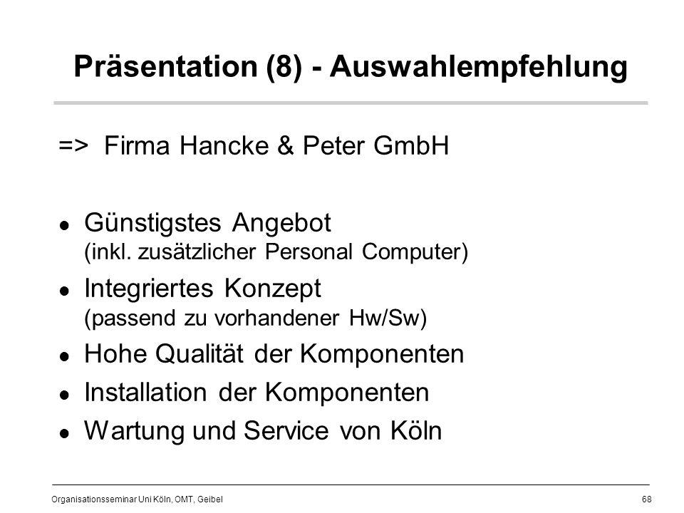 68 Organisationsseminar Uni Köln, OMT, Geibel Präsentation (8) - Auswahlempfehlung => Firma Hancke & Peter GmbH Günstigstes Angebot (inkl.